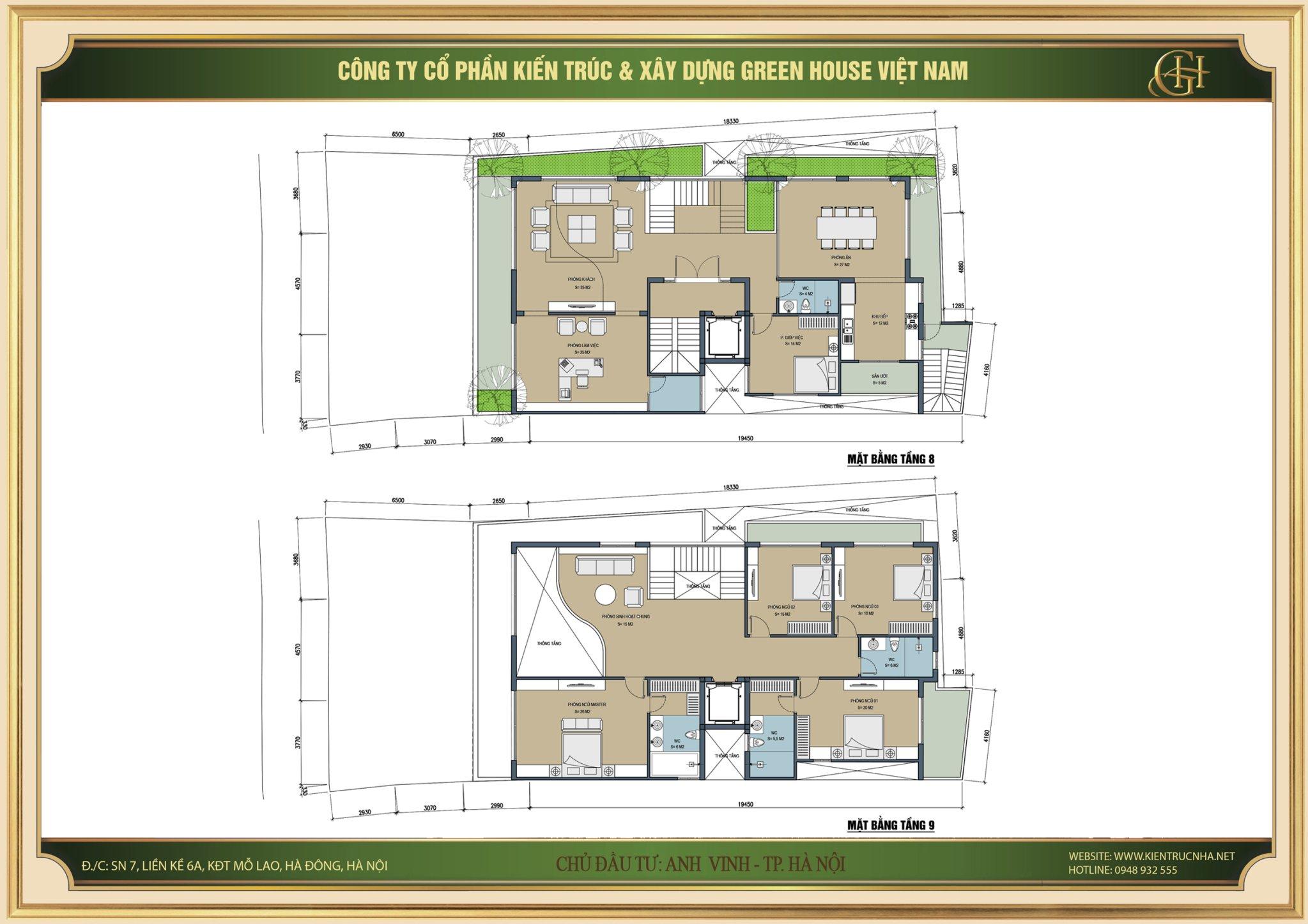 Thiết kế mặt bằng tầng 8,9 của căn hộ cho thuê 9 tầng tại Hà Nội