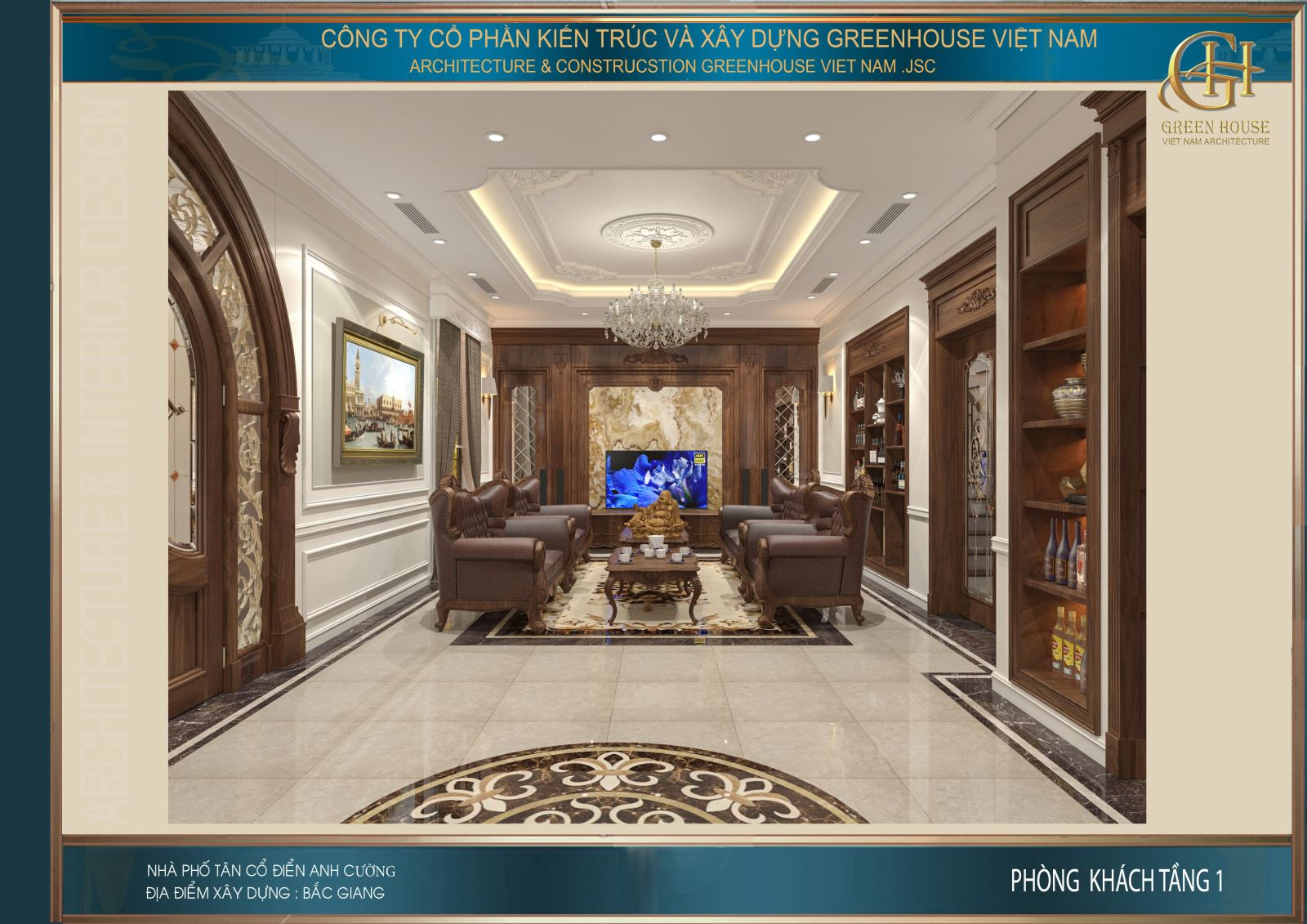 Không gian phòng khách đẹp đẳng cấp với màu sắc lịch lãm cùng thiết kế sang trọng