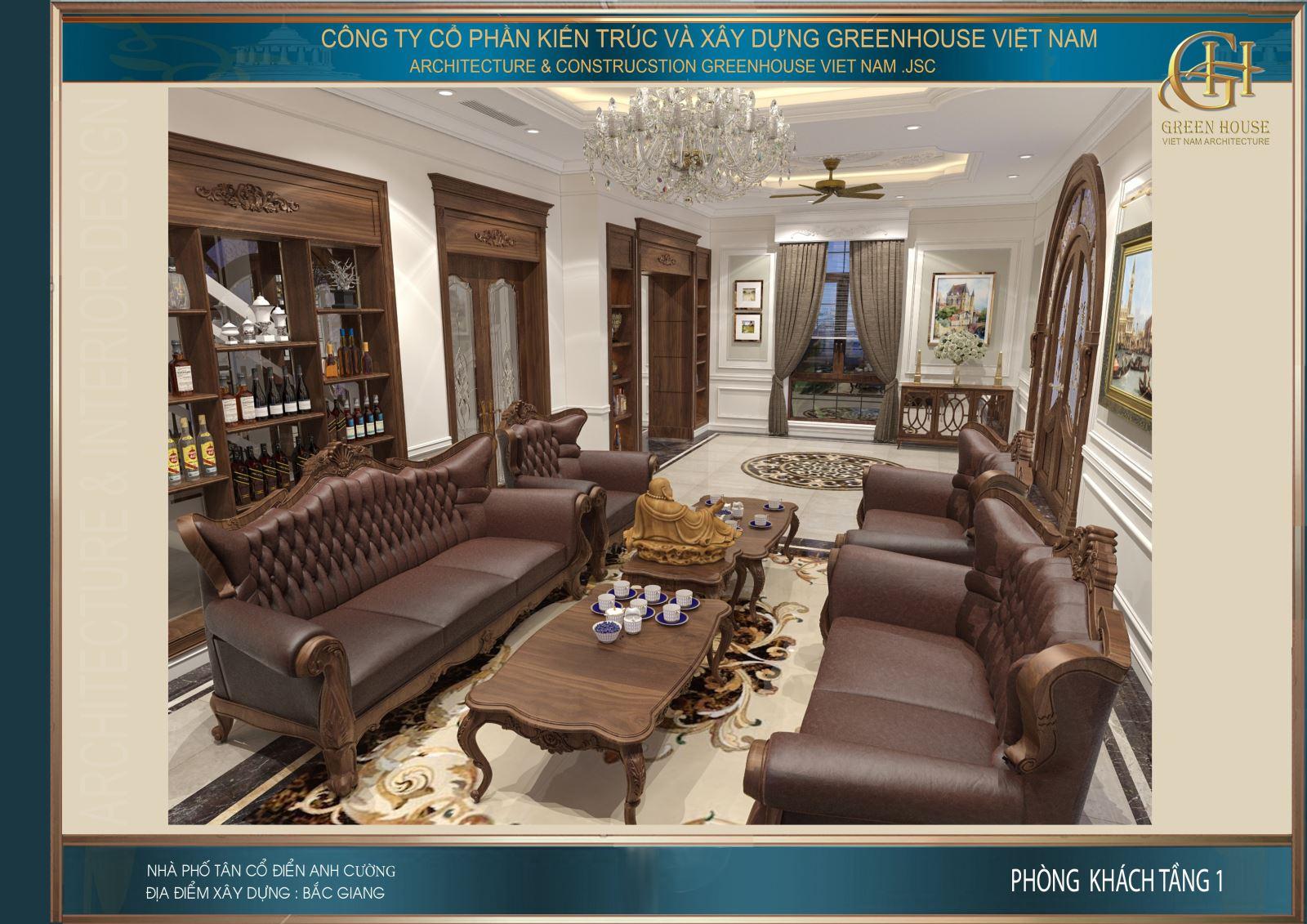 Bộ sofa cao cấp bọc da nâu sang trọng, đẳng cấp