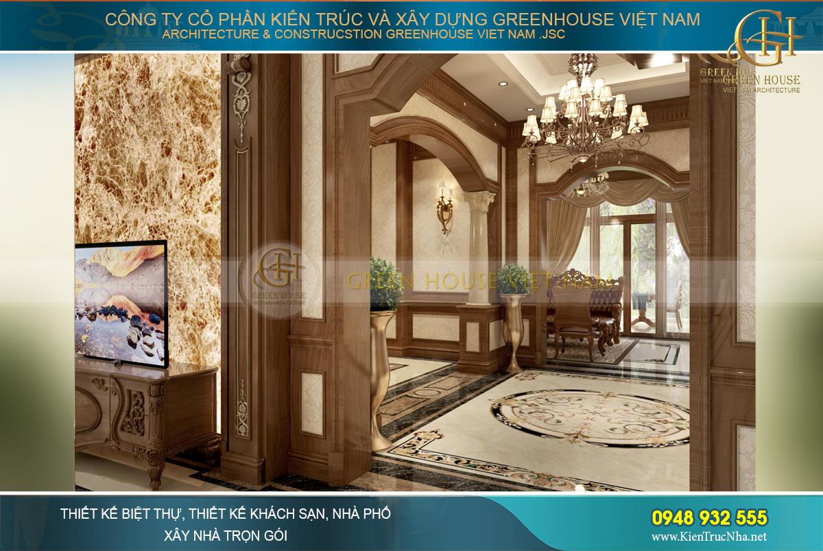 Lối đi dẫn tới sảnh thang và đối diện là phòng gia đình của biệt thự tân cổ điển