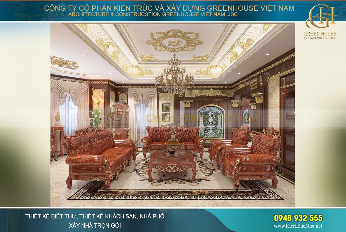 Phòng khách tân cổ điển ấm cúng với tone màu nâu thời thượng