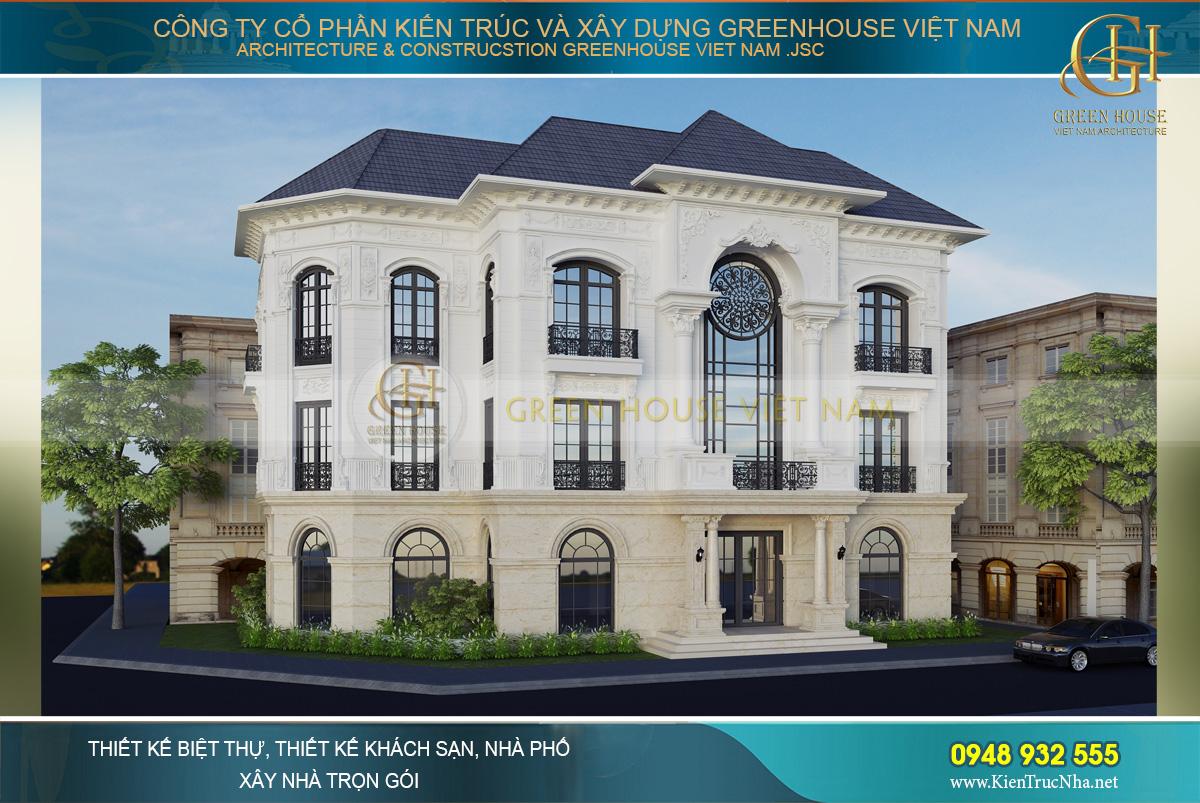 Phối cảnh mặt tiền của biệt thự tân cổ điển 3 tầng 1 tum tại Vinhomes Hà Nội