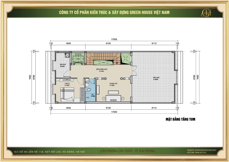 Thiết kế công năng sử dụng của tầng tum nhà phố kết hợp văn phòng cho thuê tại Hải Phòng