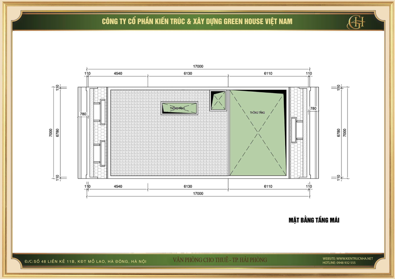 Thiết kế công năng sử dụng của tầng mái nhà phố kết hợp văn phòng cho thuê tại Hải Phòng