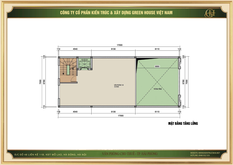 Thiết kế công năng sử dụng của tầng lửng nhà phố kết hợp văn phòng cho thuê tại Hải Phòng