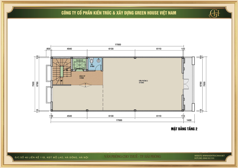 Thiết kế công năng sử dụng của tầng 2 nhà phố kết hợp văn phòng cho thuê tại Hải Phòng