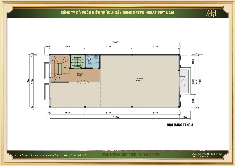 Thiết kế công năng sử dụng của tầng 3 nhà phố kết hợp văn phòng cho thuê tại Hải Phòng