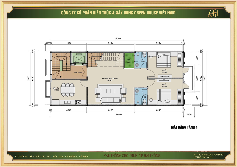 Thiết kế công năng sử dụng của tầng 4 nhà phố kết hợp văn phòng cho thuê tại Hải Phòng