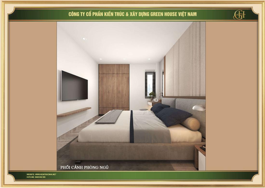 Dù không gian không lớn nhưng vẫn bố trí đầy đủ nội thất cho phòng ngủ