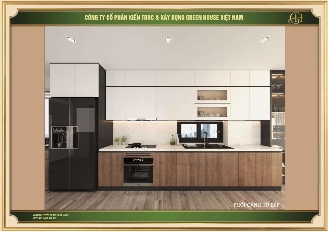 Thiết kế phòng bếp với hệ thống tủ trắng mang đến sự khác biệt