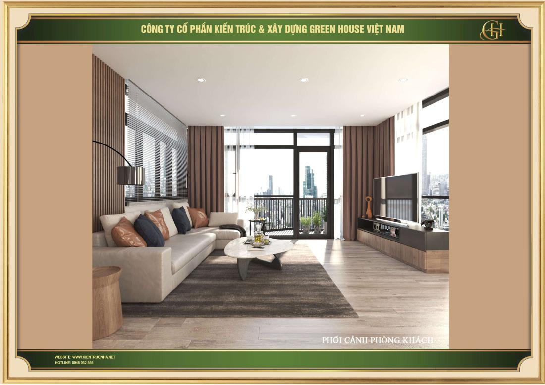 Phòng khách được thiết kế hiện đại bố trí không gian thoáng đãng