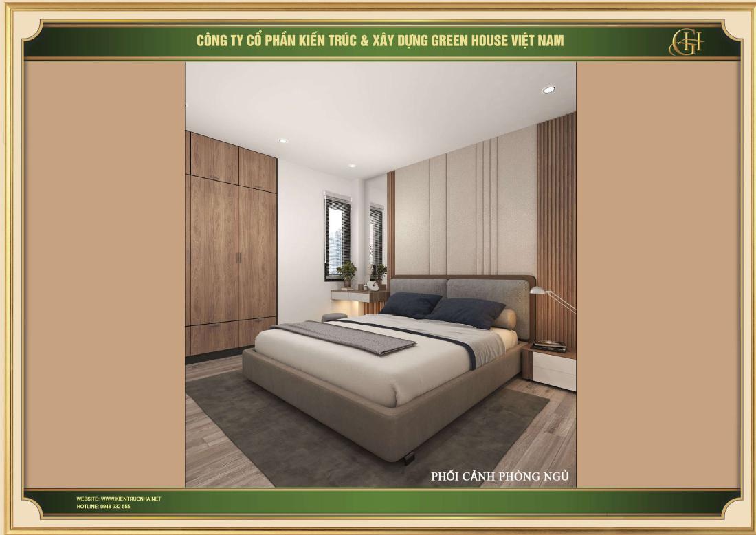 Phòng ngủ được thiết kế đơn giản nhưng vẫn mang đến sự tinh tế