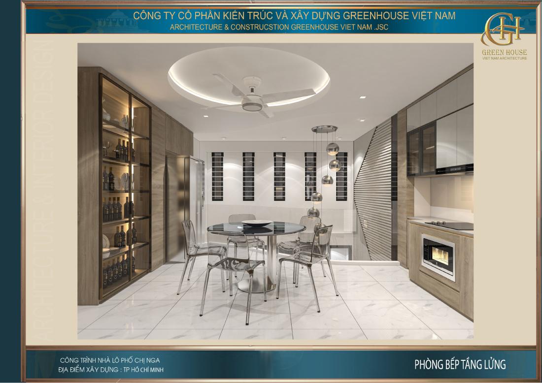 Phòng bếp cũng được thiết kế thêm tủ rượu để có thể phục vụ sở thích của gia chủ