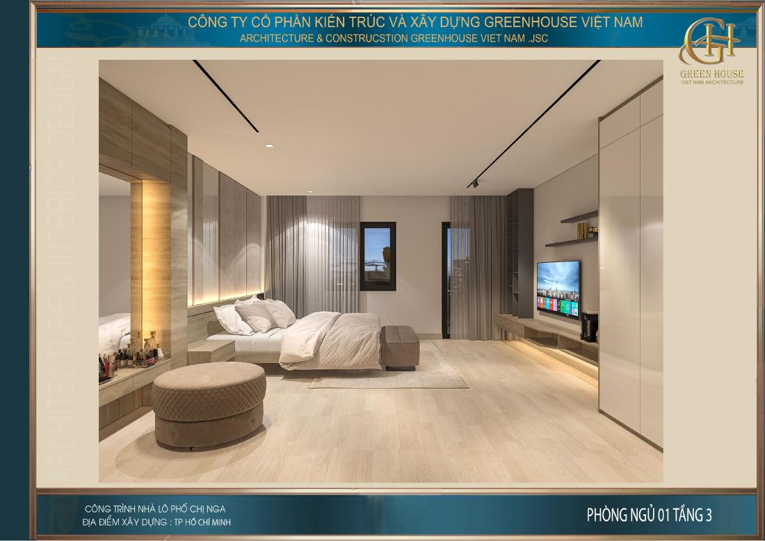 Phòng ngủ master sử dụng gam màu tươi sáng, trẻ trung và rực rỡ