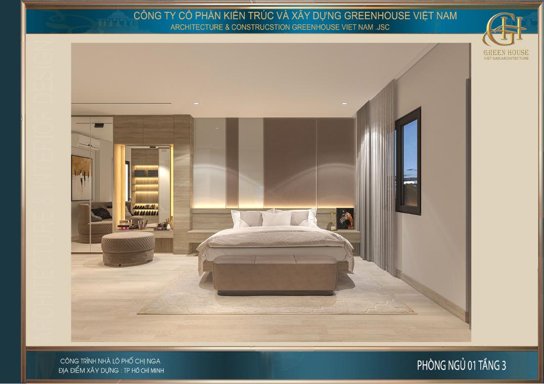 Chiếc giường ngủ lớn được đặt trên tấm thảm mang cùng tone màu mang đến sự đồng bộ cho căn phòng