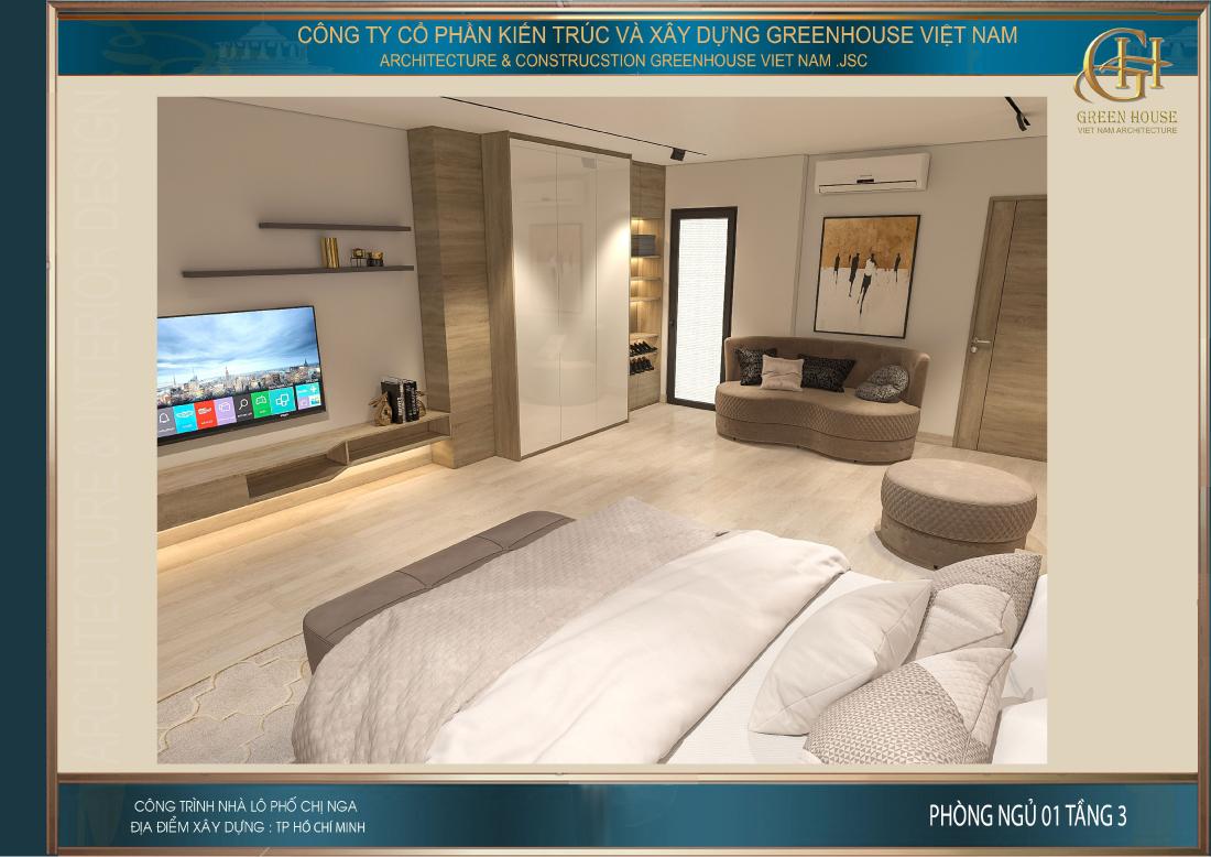 Đối diện giường là kệ TV phục vụ nhu cầu giải trí