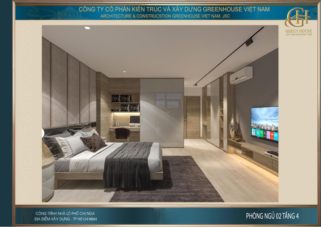 Phòng ngủ số 2 với phong cách phối màu lịch lãm và nam tính hơn