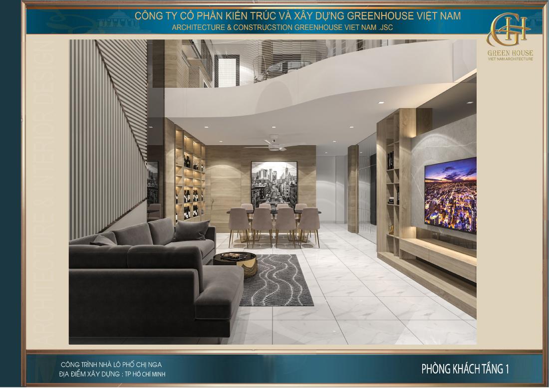 Không gian phòng khách được thiết kế đồng bộ với tone màu trắng-xám-be