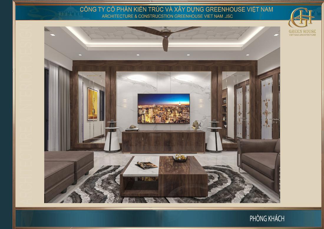 Nội thất phòng khách là sự kết hợp giữa vật liệu truyền thống là gỗ với kiểu dáng thiết kế hiện đại