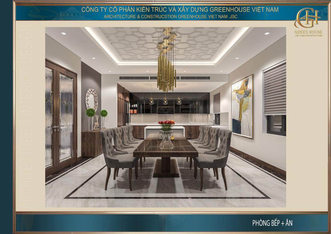Thiết kế phòng bếp với đồ nội thất được bố trí gọn gàng không rối mắt
