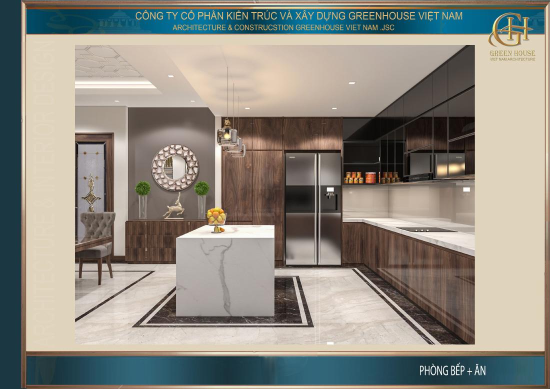 Không gian phòng bếp sử dụng tone màu nâu trắng mang đến vẻ đẹp lịch lãm, dịu dàng