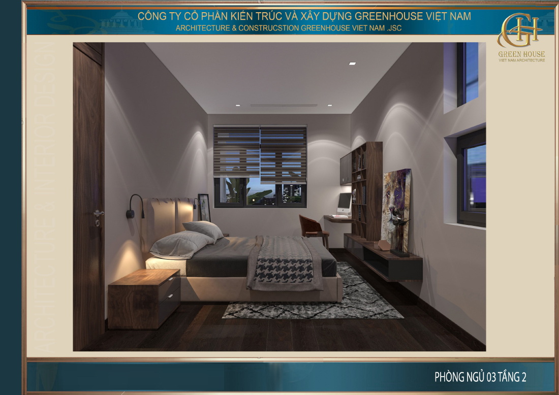 Thiết kế nội thất phòng ngủ số 3 tại tầng 2 của nhà phố tân cổ điển