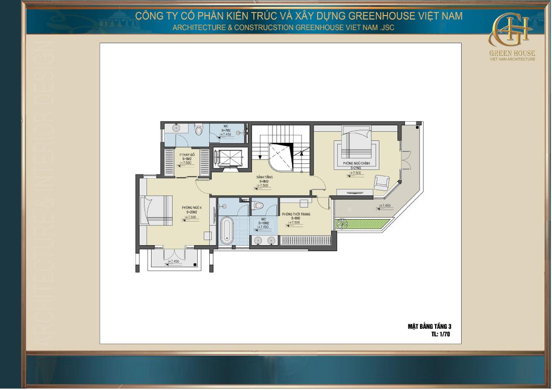 Bố trí công năng sử dụng của tầng 3 nhà phố tân cổ điển 5 tầng