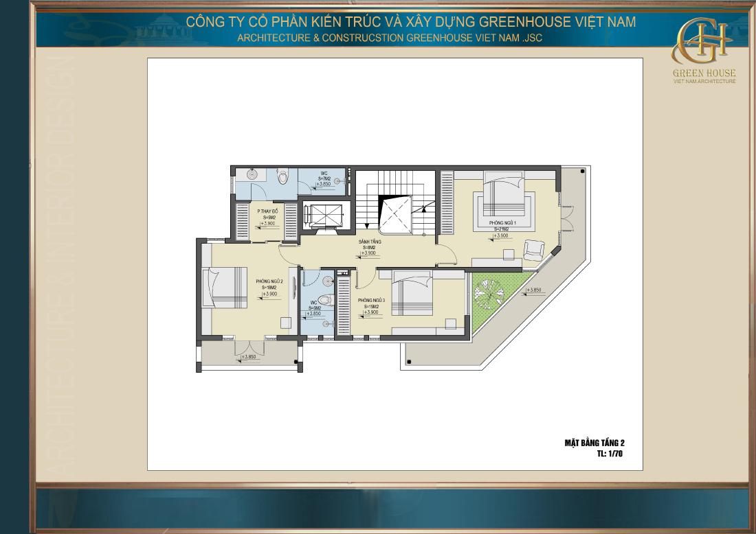 Bố trí công năng sử dụng của tầng 2 nhà phố tân cổ điển 5 tầng tại Hà Nội