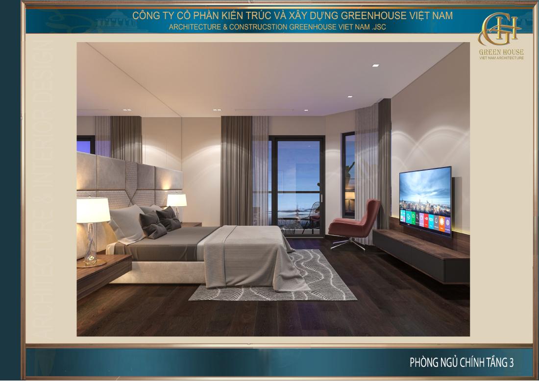 Thiết kế nội thất phòng ngủ chính tầng 3 của nhà phố tân cổ điển tại Hà Nội