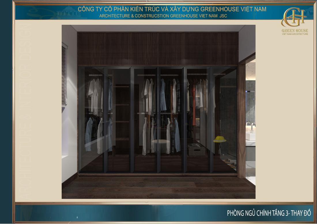 Thiết kế phòng thay đồ riêng của phòng ngủ chính trên tầng 3