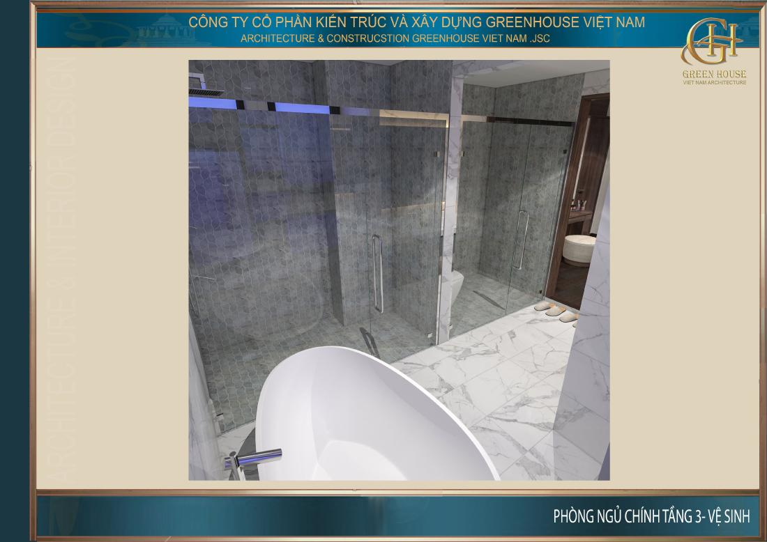 Cấu trúc nhà vệ sinh rộng rãi, đảm bảo công năng sinh hoạt riêng tư