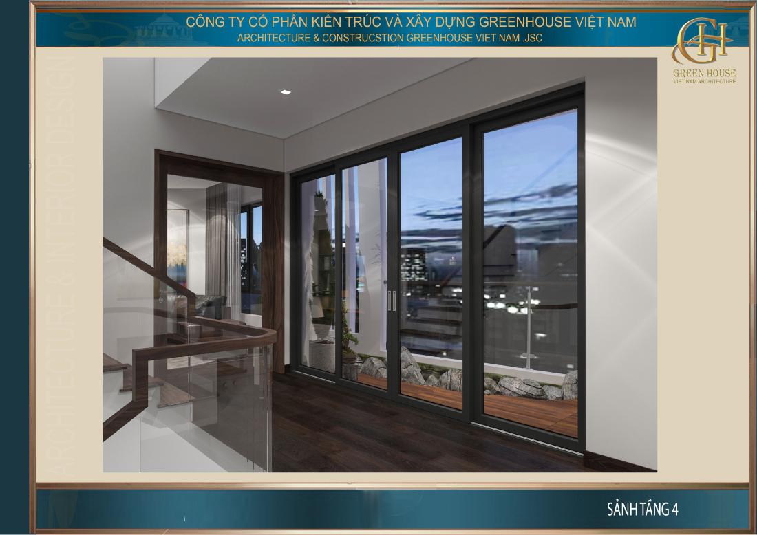 Sảnh tầng 4 lối vào phòng khách và phòng bếp