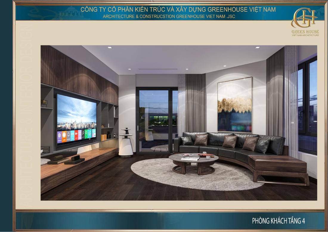Phòng khách được thiết kế với tone màu nâu nền nã, thanh lịch