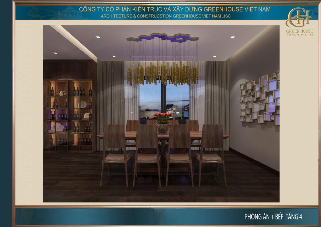 Phòng ăn được bố trí với cảnh thiên nhiên tươi đẹp xung quanh giúp tăng cảm giác ngon miệng