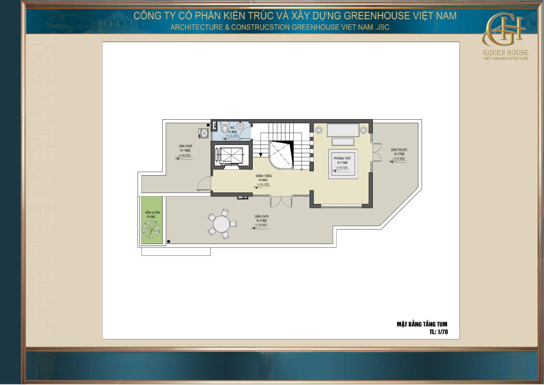 Bố trí công năng sử dụng của tầng tum nhà phố tân cổ điển 5 tầng tại Hà Nội