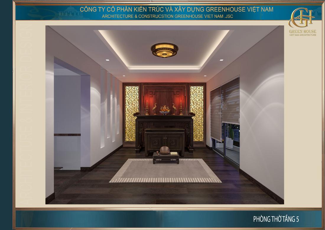 Thiết kế nội thất phòng thờ linh thiêng, trang trọng với chất liệu gỗ tự nhiên