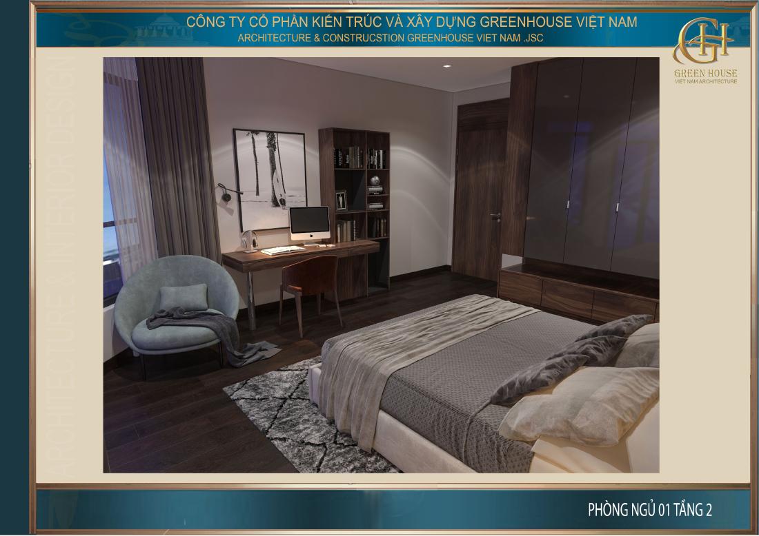 Phòng ngủ bố trí đầy đủ bàn học, giá sách phục vụ cho con trai