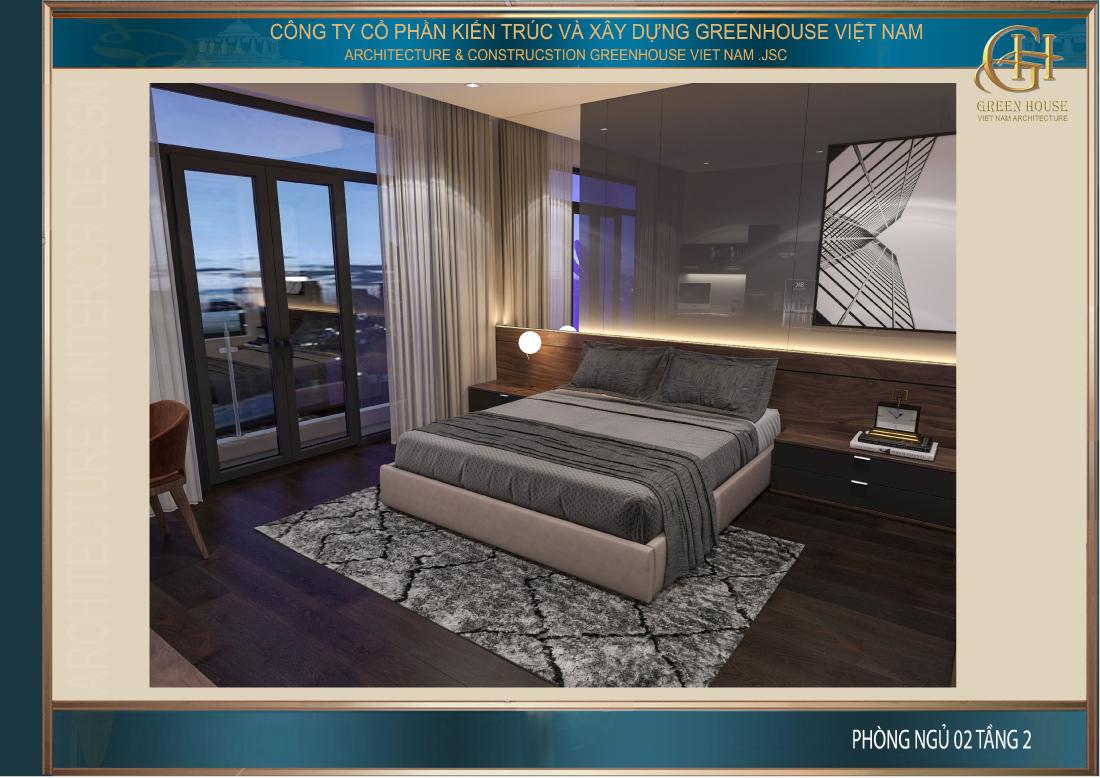 Phòng ngủ số 2 tại tầng 2 cũng được thiết kế khá tương đồng với phòng ngủ đầu tiên